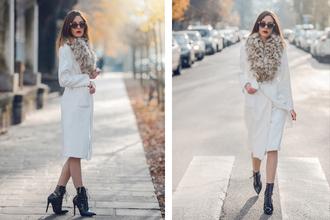 carolina krews blogger sunglasses winter coat faux fur black heels