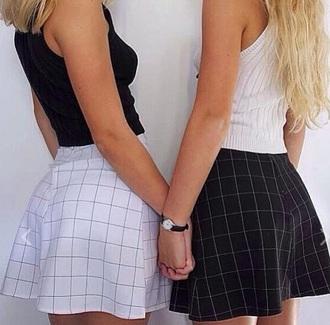 skirt grid skirt skater skirt black white black and white