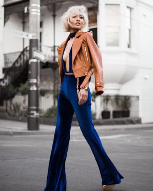 Rock A Gray Hat And Leather Jacket For Fall: Jumpsuit, Tumblr, Blue Jumpsuit, Velvet, V Neck, Plunge V