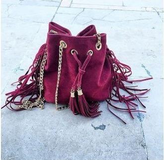 bag vine wine red wine color fringes fringed bag chain gold