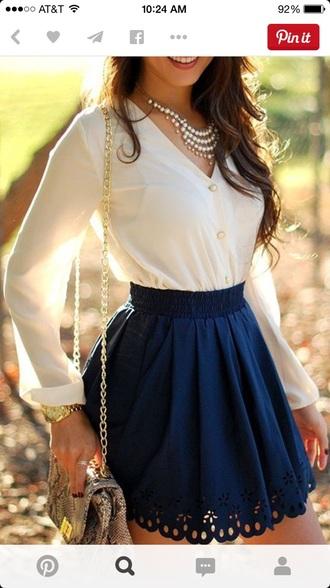 skirt flowy cute preppy classy flowers blue skirt blouse