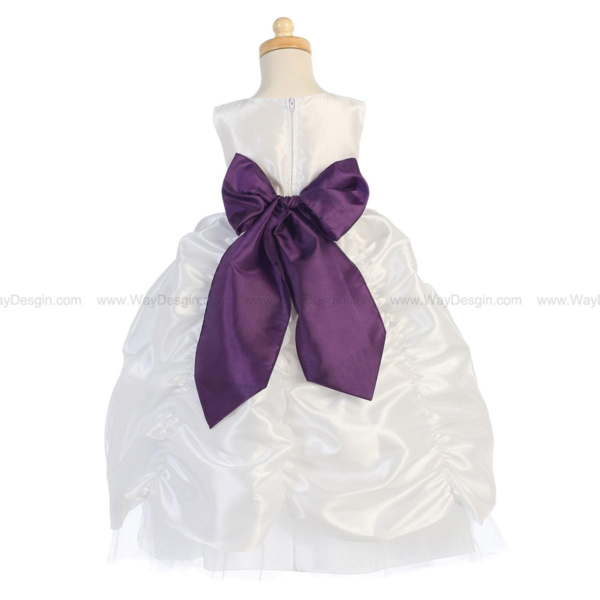 Blossom White Taffeta Dress Shirred Skirt and Detachable Sash & Flower