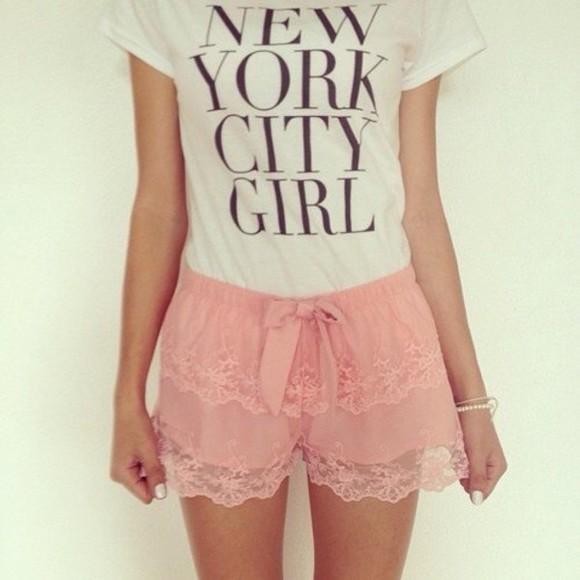 pink shorts pink lace shorts bow shorts lace shorts lace shorts light pink shorts t-shirt