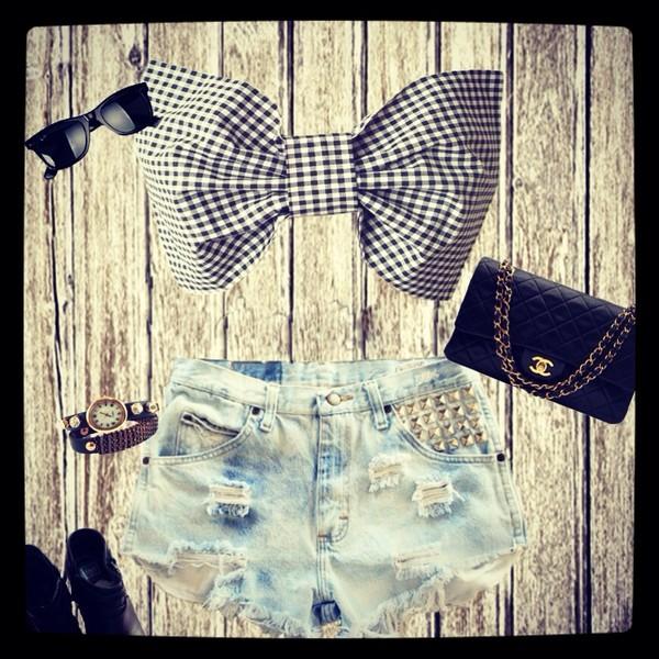 shorts shirt bowtop bow bandeau bow bandeau chanel bag sunglasses