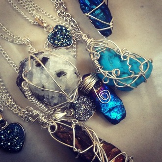 jewels quartz heart necklace rock boho grunge moon hippie fairy faerie festival gypsy gemstone crystal quartz minerals turquoise turquoise jewelry fall outfits alternative wire wrap wire wrapped festival chic festival jewels chain traveller psychedelic goa