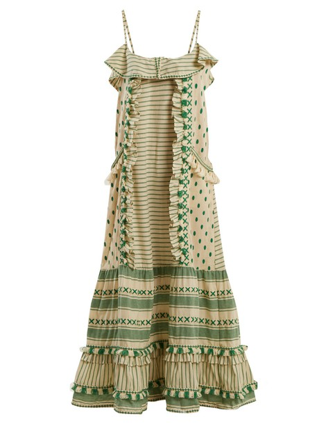 Dodo Bar Or dress embroidered ruffle cotton green