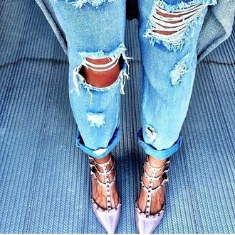 jeans pants ripped jeans ripped light jeans fashion style shoes stilettos pumps spikes