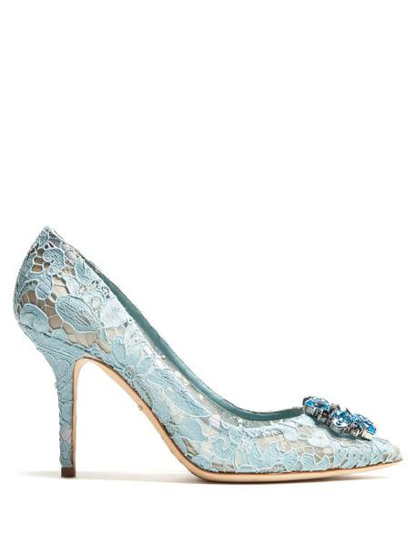 Dolce & Gabbana embellished pumps lace light blue light blue shoes