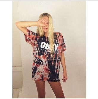 t-shirt obey tie dye shirt tie dye style