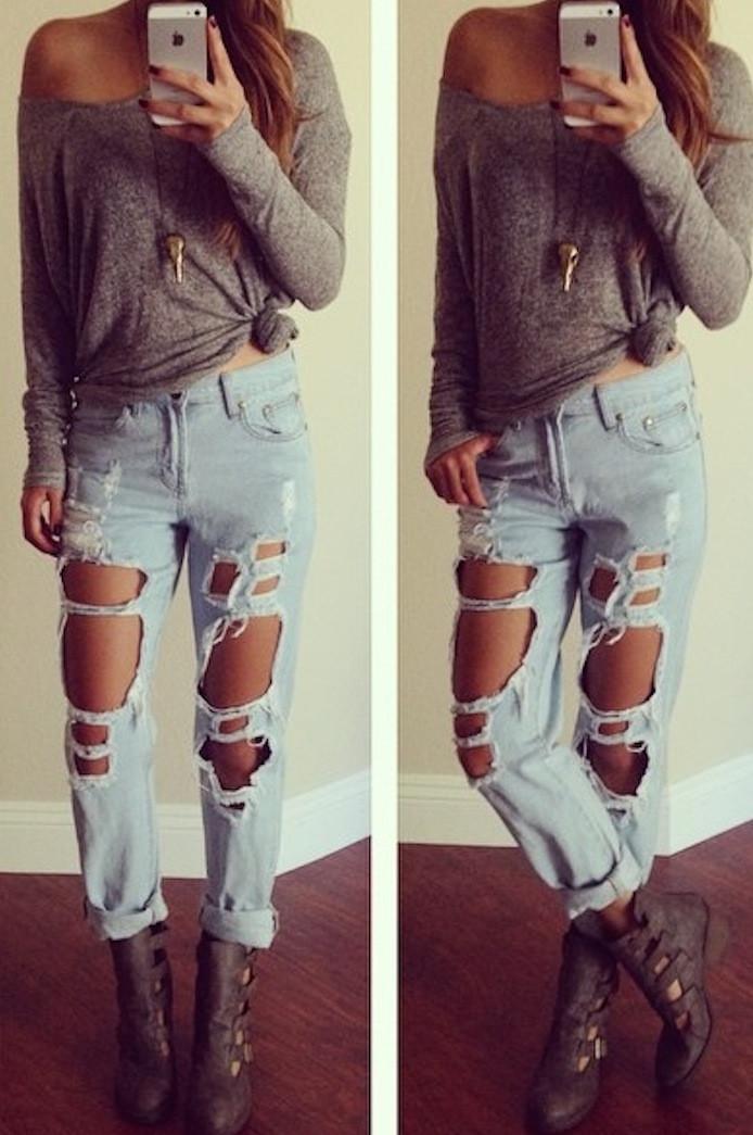 Destroyed Pants Boyfriend Jeans – Colors of Aurora