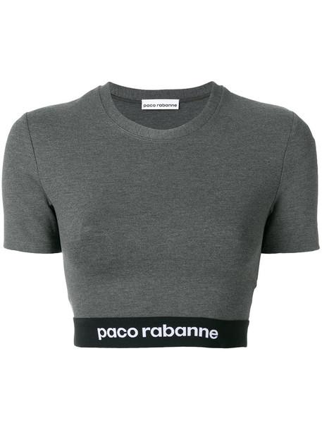 Paco Rabanne t-shirt shirt cropped t-shirt t-shirt cropped women spandex print grey top
