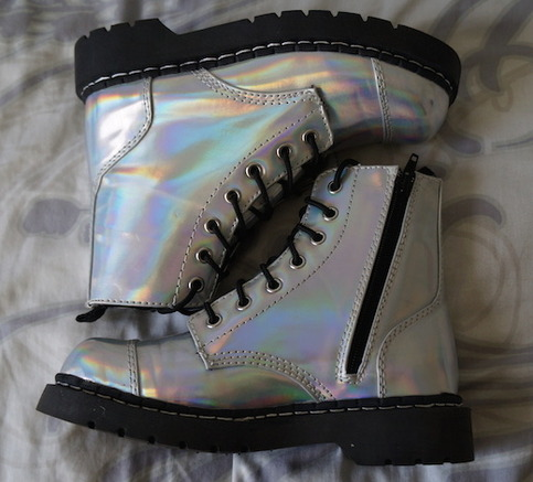T.u.k. iridescent holographic anarchic combat boots 7 eyelet from marla's vintage garments on storenvy