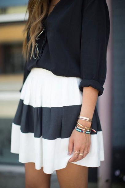 Shirt skirt black and white dress classic skater skirt stripes single stripe stripes ...