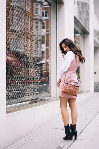 dress tumblr white shirt shirt mini dress pink dress bag brown bag boots black boots high heels boots ankle boots sleeveless dress sleeveless