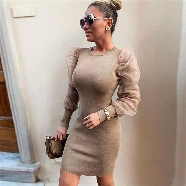 BillionDollarBabyStory - Charlotte Behavior - Puffy Shoulder Long Sleeve Vintage Dress