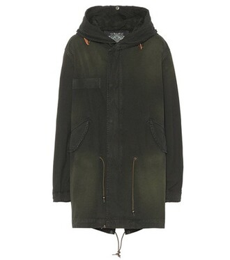 parka midi cotton green coat