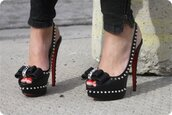 shoes,black,spikes,bow,red,high heels,inlove