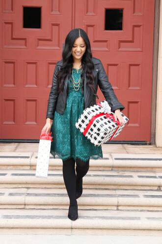 puttingmetogether blogger dress jacket tights green dress black leather jacket