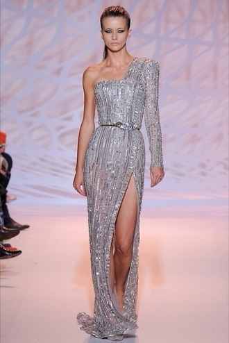 zuhair murad silver one shoulder
