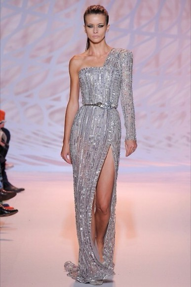 silver zuhair murad one shoulder
