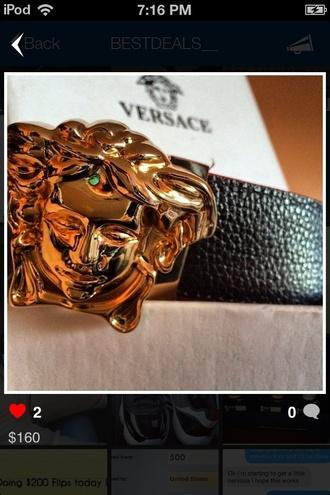 belt gold black leather belt versace belt versace