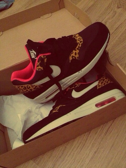 shoes cheetah print nike black