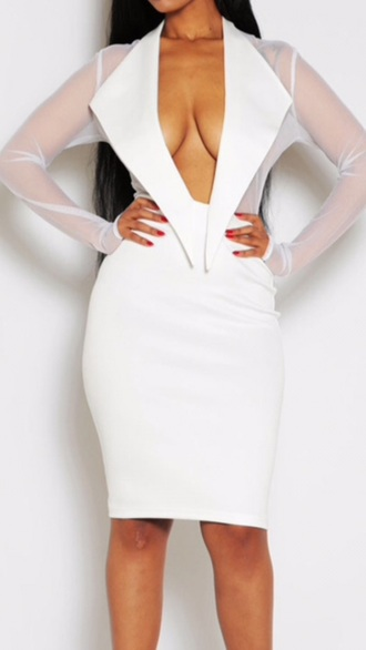 dress tuxedo shirt sheer white dress white sexy dress fashion birthday dress plunge v neck high-low dresses low cut dress white skirt midi skirt