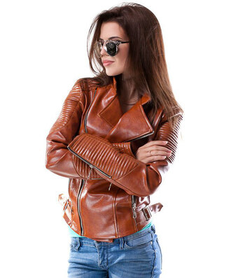 jacket zefinka leather jacket leather outfit outfit idea fall coat fall jacket brown girly wishlist trendy