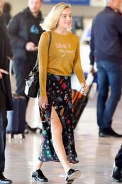 skirt,sweater,margot robbie,celebrity,spring outfits,midi skirt,mustard sweater,mustard