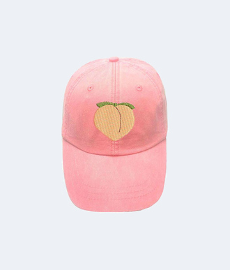 hat peach patch pink cap emoji print summer accessories 90s style