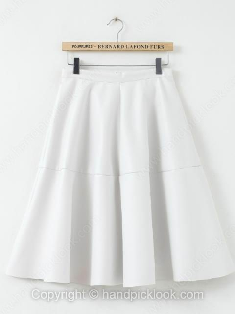 White Zipper Fly PU Pleated Skirt - HandpickLook.com