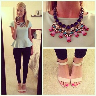 top cute girly casual work casual date outfit cap sleeves baby blue peplum top
