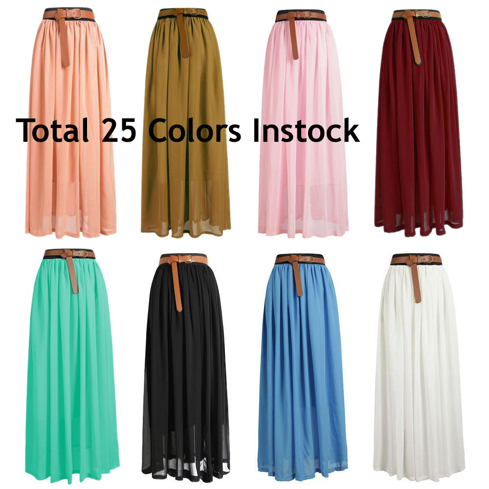 Lady Women Chiffon Maxi Skirt Pleated Retro Long Dress Elastic Waist 25 Colors | eBay