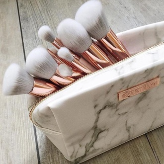 make-up spectrum makeup brushes gold ombre grey white marble marble face makeup makeup bag white makeup brushes matching bag white rose gold bag beauty accessories