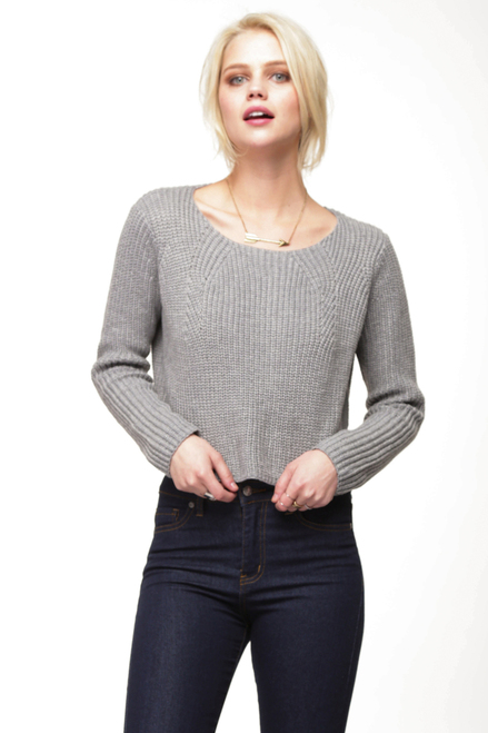 Bed Head Heather Grey Cropped Pullover