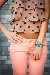 blouse,top,shirt,tank top,polka dots,pink,pink pants,Black polka dots,bracelets,jeans,pants,peach,orange,denim,black,pink jeans