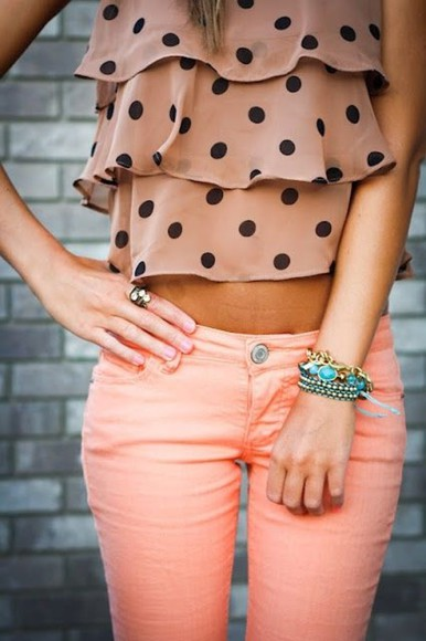 bracelets pink pink pants top tank top polka dot black polka dots shirt blouse jeans polka dots pants peach orange denim