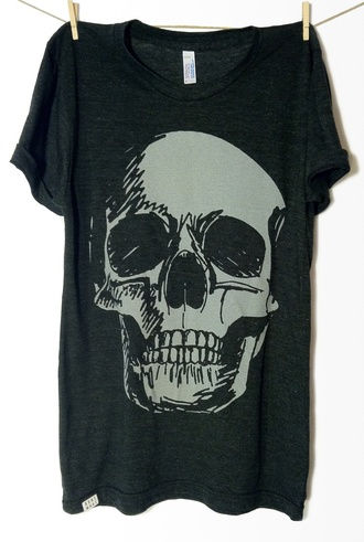 shirt skull bones dead black grey