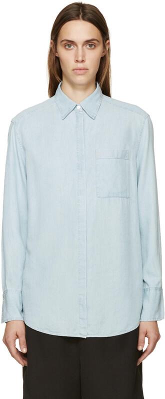 shirt denim blue top