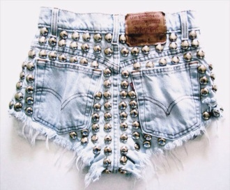 shorts dip dyed blue jeans shorts studded shorts studs sexy levi's shorts hipster vintage short shorts cut offs runwaydreamz