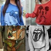shirt,mickey mouse,hello kitty,the rolling stones,red,blue,grey,white,long sleeves,off the shoulder,cute,tom and jerry,sweater,swag,clothes,disney,cute sweaters,tumblr,instagram,weheartit,tumblr girl,mouse,tom & jerry,sweatshirt,red sweater,blouse,grey sweater