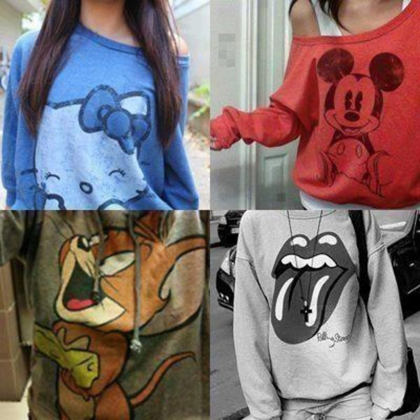 shirt mickey mouse hello kitty the rolling stones red blue grey white long sleeves off the shoulder cute tom and jerry sweater swag clothes disney mickey mouse disney the rolling stones cute sweaters tumblr instagram weheartit tumblr girl mickey mouse mouse tom & jerry sweatshirt red sweater blouse grey sweater