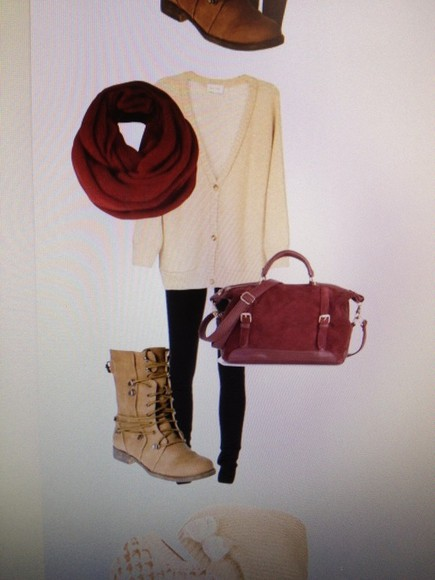 red bag scarf burgundy boot cardigan cream
