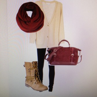 scarf cardigan red bag burgundy boot cream scarf red