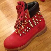 shoes,marques,timberland,french,rouge,cloue,timberlands,red,spikes,red timberlands,boots,spiked shoes,boots spiked,studs,custom,boys size 6.,timberland boots shoes,studded shoes,red leopard print timberlands