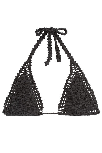bikini bikini top triangle bikini triangle crochet black swimwear