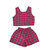 Hot Pink Tartan Plaid Co-ord Two Piece Twinset Womens Fashion Clothes Check Short Sleeve Top Skater High Waist Shorts Clothing Style