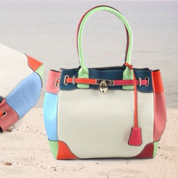 cute mint green bag orange babyblue