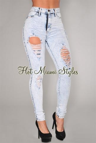 Denim Destroyed High-Waist Skinny Jeans