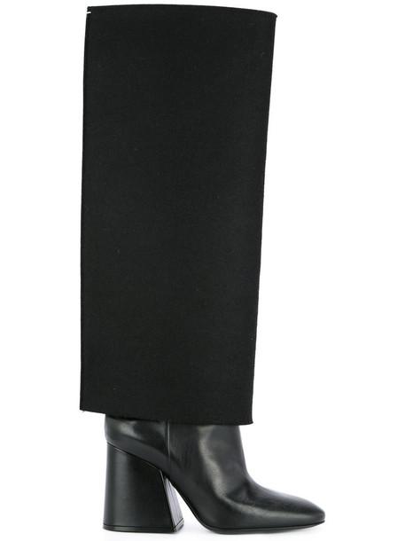 MAISON MARGIELA high women knee high knee high boots leather black wool shoes